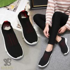 Diskon Nana Blanche Alessia Sepatu Sneakers Wanita Sock Shoes Kasual Black Red Branded