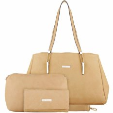 Nana Blanche Jalynda Set Tas Kerja Premium Sandang Besar + Tas Selempang Gratis Dompet - 0001 Cream