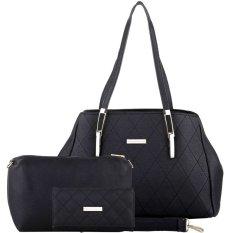 Review Terbaik Nana Blanche Jalynda Set Tas Kerja Premium Sandang Besar Tas Selempang Gratis Dompet 0001 Hitam