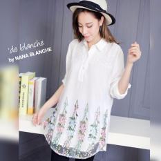 Harga Nana Blanche Kirani Blouse Tunik Bordir Premium Wanita 222 White Terbaik