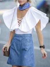 Nana Eropa dan Amerika Fashion Kaos Kemeja Wanita Lengan Pendek Putih-Intl