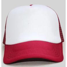 Nandhut - Topi Pria Polos jaring Baseball Cap-Merah Putih