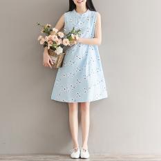 Nasional Angin Sastra Bordir Dicetak Tombol Piring Gaun Without Lengan Cheongsam (Cahaya Biru) (Cahaya Biru) baju Wanita Gaun Wanita Gaun Wanita