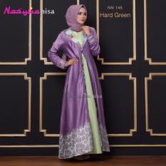 Nasywanisa NN145 Gamis Dress Panjang Ibu Menyusui Batik Hijau Pupus - Hard Green