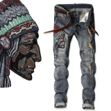 Beli Native American Indian Chief Jeans Bordir Pria Etnis Patch Punk Tertekan Designer Street Fashion Cool Jean Unik Denim Intl Oem