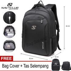 Navy Club Tas Ransel Laptop - Tas Pria Tas Wanita - Backpack built in USB Charger Up to 15 inch Anti Air - Black (Free Bag Cover + Free Tas Selempang)
