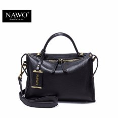 Beli Nawo Women S Genuine Cowhide Leather Handbag Fashion Shoulder Bag Black Intl Cicil