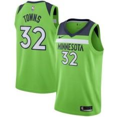 NBA Pria Minnesota Timberwolves Kota Karl-anthony #32 Hijau Swingman Basket Jersey Edisi Pernyataan Musim Panas Kualitas Tinggi Nyaman (Hijau) -Intl