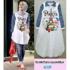 Promo Ncr Baju Atasan Muslim Tunik Paris Blue Ncr