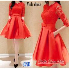 Harga Ncr Dress Simple Elegant Biola Red Murah
