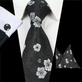 Harga Paket Dasi Untuk Pria Tie Saputangan Manset Pernikahan Bisnis Jacquard Tenun Sutra Fashion Aksesoris Set Hitam Intl Termahal