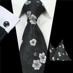 Jual Paket Dasi Untuk Pria Tie Saputangan Manset Pernikahan Bisnis Jacquard Tenun Sutra Fashion Aksesoris Set Hitam Intl Di Indonesia