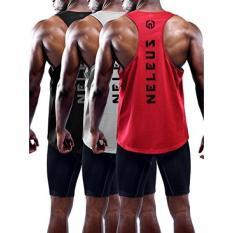 Neleus Neleus Pria 3 Pack Kering Sesuai Atletik Tanpa Lengan Muscle Tangki, 5031, Hitam, Grey, Merah, l, Label XL-Internasional