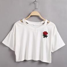Jual Baru 2015 Fashion Lady Cut Out V Neck Lengan Pendek Rose Applique Crop Top T Shirt Tee Promosi Goodshopping Intl Lengkap
