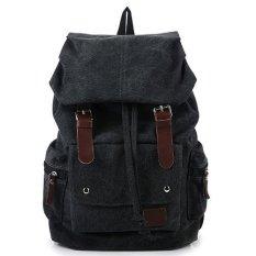 Spesifikasi Baru 2016 Vintage Fashion Pria Tas Vintage Ransel Kain Perca Kanvas Shoulder Bags Tas Ransel Tas Sekolah Perjalanan Mochila Hitam Internasional Murah Berkualitas
