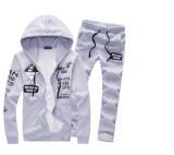 Spesifikasi Baru 2 Pcs Mens Hoodies Santai Tracksuit Jogging Athletic Jaket Celana Abu Abu Merk Oem