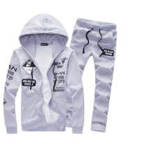 Beli Baru 2 Pcs Mens Hoodies Santai Tracksuit Jogging Athletic Jaket Celana Abu Abu Lengkap