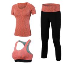 Baru 3 Buah Profesional Peralatan Yoga Cepat Kering Latihan Olahraga Setelan Celana Ketat Seksi Top Pakaian Senam Celana Bra Olahraga Baju Olahraga untuk Wanita, China (merah)