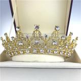 Harga Baru Antique Pernikahan Bridal Crystal Headband Ratu Crown Tiara Rambut Aksesoris Prom Emas Intl Oem Terbaik