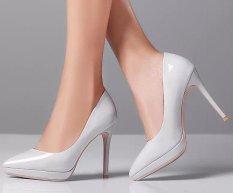 Harga Baru Kedatangan 10 5 Cm Tinggi Wanita Bertumit Sepatu Abu Abu Intl Asli