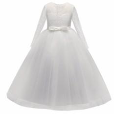 New Arrival Baby Girl's Dress White Lace Tutu Gaun Hook Bunga Lengan Panjang Jatuh Rok Anak Kostum Ulang Tahun- INTL
