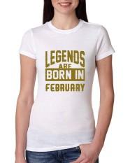 Baru Desain Kedatangan Legenda Lahir Pada Bulan Februari Junior Fit 2018 T Shirt untuk Wanita Putih-Intl