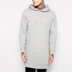 Jual Beli Kedatangan Baru Gratis Pengiriman Fashion Pria Panjang Hitam Kaos Keringat Feece Dengan Sisi Zip Dengan Longline Hip Hop Shirt Light Grey Intl