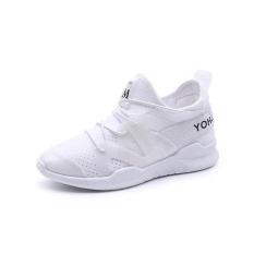 Baru Kedatangan Gaya Korea Wanita Tenis Sepatu Bernapas Jaring untuk Wanita Sepatu Olahraga Super Light Renda-up Outdoor Wanita Athletic Kets (Putih) -Intl