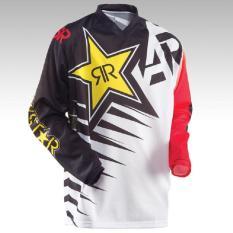 Baru Kedatangan Rock Star Moto Jersey MX MTB Off Road Mountain Bike DH Sepeda Jersey DH BMX Motocross Jersey 3 Gaya (Putih) -Intl