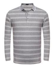 Baru Kedatangan Sunweb Pria Kasual Polo Kaus Warna Kontras Lengan Panjang Lengan Bergaris Kaus (Grey)-Internasional