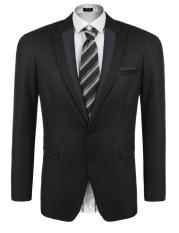 Baru Arrival Sunweb Pria Lengan Panjang Kerah Ramping Sesuai Blazer Satu Tombol Kantong Tutup Bisnis Setelan Jaket (Hitam) -Internasional