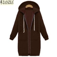 Harga Baru Kedatangan Zanzea Mantel Musim Dingin Jaket Wanita Panjang Kaus Berkerudung Mantel Kasual Zipper Pakaian Luar Hoodies Plus Ukuran Kopi Intl Baru