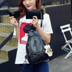 NEW ARRIVAL+BEST SELLER  QQ121939 Black Ransel 3In1 TAS IMPORT WANITA MURAH KOREA STYLE