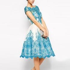 Jual Baru Kedatangan Blue Lace Rendah Pinggang Round Leher Gaun Vestido Vestido De Renda Defeisita Pesta Musim Panas Renda Evening Dress Wanita Gaun Import