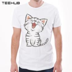 Baru Kedatangan Happy Cat Pria T-Shirt Fashion American Shorthair Dicetak T Shirt Lengan Pendek O-Neck Tops Lucu Kartun Tee (putih) -Intl