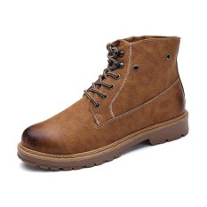 Beli New Arrive Cool Men Genuine Leather High Top Martin Boots Waterproof Ankle Boots Intl Kredit