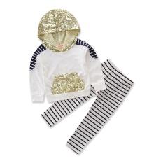 Baru Musim Gugur Bayi Gadis Pakaian Manik-manik Hoodie Atasan Kaus Katun Bergaris Celana 2 Pcs Pakaian Gadis Pakaian Set Tracksuit Ukuran 1-5Y-Internasional