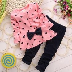 Toko Jual Bayi Baru Set Bingkai Cetak Berbentuk Hati Cute 2 Pcs Kids Set T Shirt Celana Pk 90