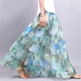 Kualitas New Boho Women Lined Maxi Chiffon Floral Skirt High Waist Retro Saia Beach Tutu Long Skirt Intl Not Specified