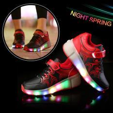 Baru Boy Otomatis LED Terang Roda Roller Skate Heelys Sneakers Sepatu (Hitam)-Intl
