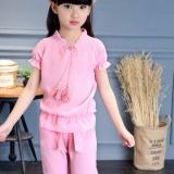 Penawaran Istimewa Baru Merek Girls Pakaian Pakaian Set Pendek Lengan T Shirt Celana Fashion Girls Cotton Sport Suits Pink Intl Terbaru