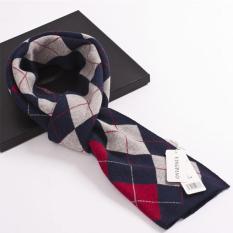 Merek Baru Musim Dingin Scarf Selendang Pria untuk Hadiah Natal Plaid Syal Fashion Pria Selendang Scarves (Merah) -Intl