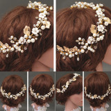 Diskon Produk Pengantin Baru Gold Pearl Crystal Kesemarakan Pesta Pernikahan Rambut Aksesoris Perhiasan Rambut Emas Internasional