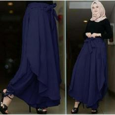 UC [NEW] Celana Kulot Wanita / Long Culotte Pants / Celana Panjang Wanita (litata) 7T - Navy