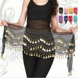 Obral New Chiffon Belly Dance Hip Scarf 3 Rows Coin Belt Skirt Black Intl Murah