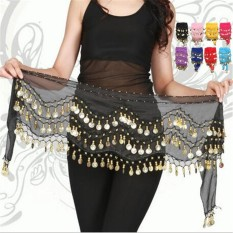 Cuci Gudang New Chiffon Belly Dance Hip Scarf 3 Rows Coin Belt Skirt Black Intl