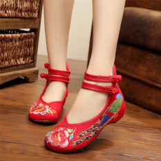 Spesifikasi Baru Gaya Cina Kasual Wanita Sepatu Sandal Bordir Bunga Flats Mary Janes Murah