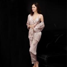 Pasangan Baru Spinning Piyama Sutra, Ladies Summer Tiga Potong Suit, Lengan Panjang Pria Robe-(Model Wanita)-Intl