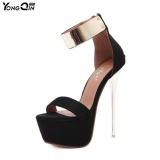 Desain Baru Sepatu Wanita High Heels Seksi Hitam Waterproof 16 Cm Tinggi Musim Panas Sandal Wanita Nightclub Party Sepatu Ukuran 34 40 Hitam Murah