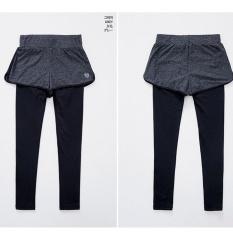 Baru Dua Potong Palsu Erat Suka Diemong Celana Panjang Cinta Apakah Tipis Yoga Fitness Pants-Intl